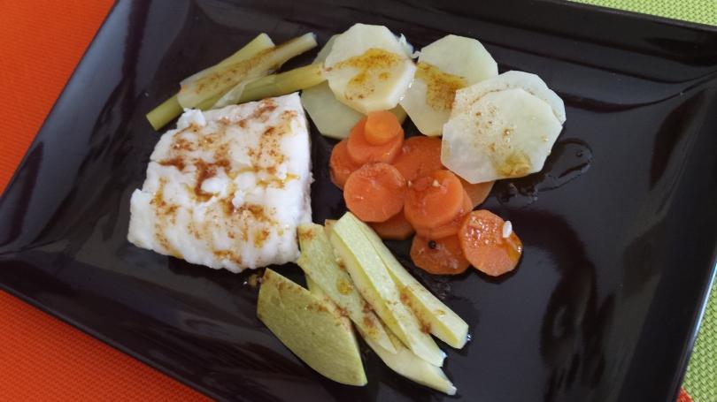 Lomo de bacalao con verduras y ajada Marroqui